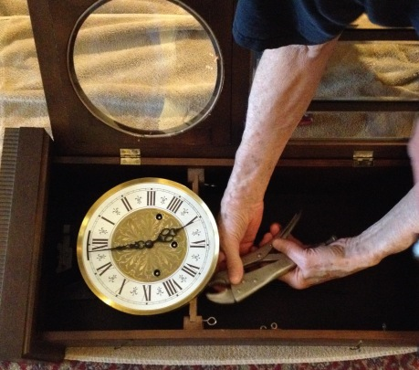 Dad at work on the clock