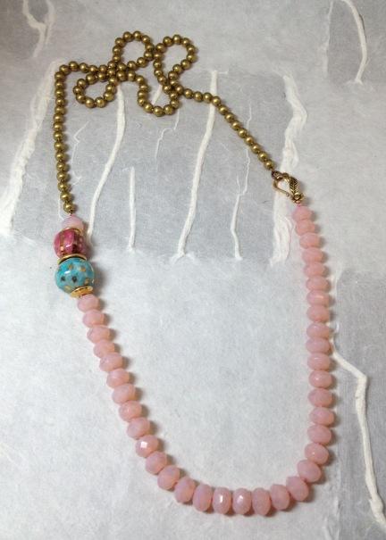 Zesty frog pink Czech necklace