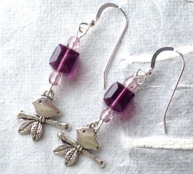 BeadLove - Gentle Spring bird earrings
