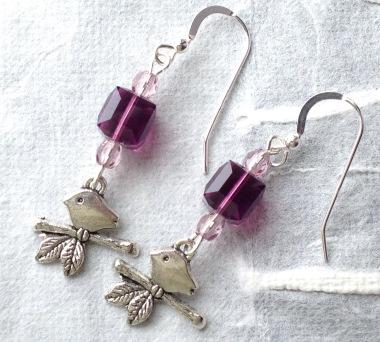BeadLove - Gentle Spring bird earrings