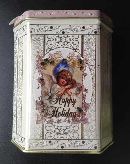 white holiday tin