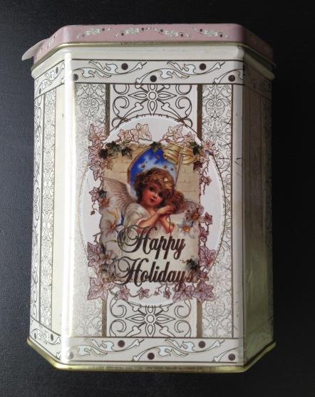 white holiday tin