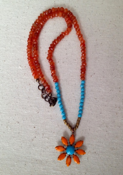 BeadLove - orange and turquoise flower