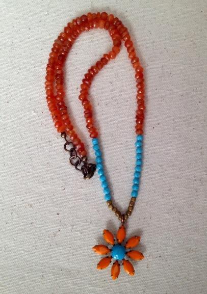 BeadLove - orange and turquoise flower