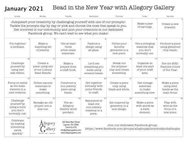 Calendar showing written prompts for each day of January.