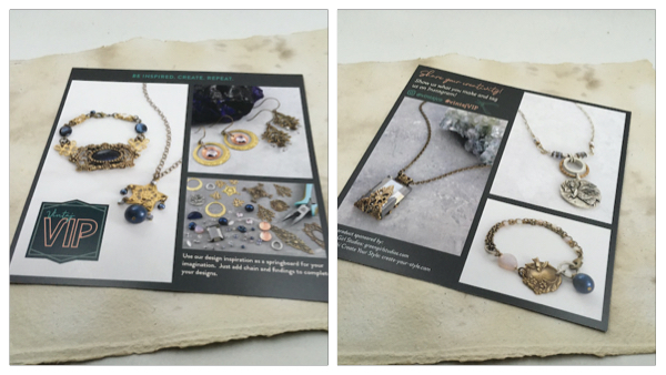 Pictures of sample jewelry designs on a card that came with the kit